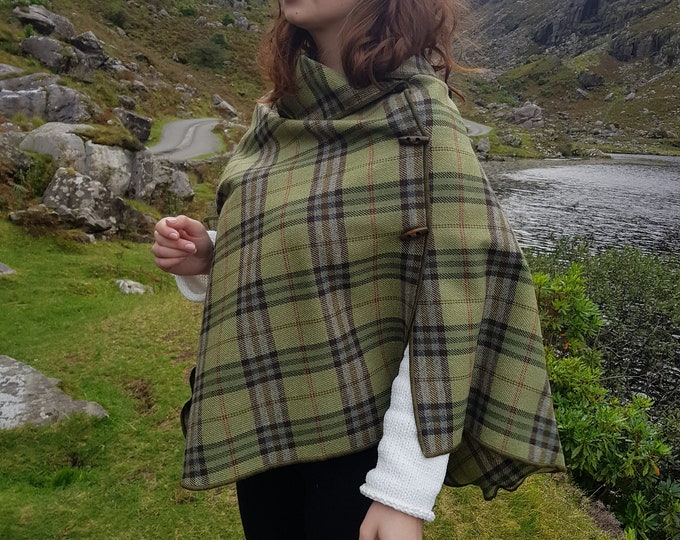 Irish soft lambswool poncho, cape, shawl in 1 piece!  green/brown Irish plaid check tartan - 100% pure new wool - HANDMADE IN IRELAND
