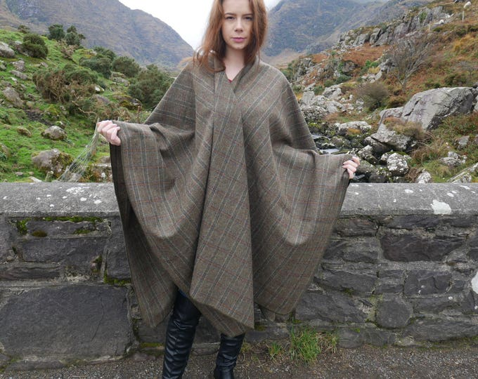 Irish tweed wool ruana,wrap, arisaid - 100% wool - brown tartan, plaid check - ready for shipping - HANDMADE IN IRELAND