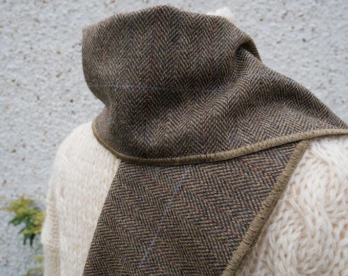Irish tweed wool scarf -100% wool- beige/black herringbone - FREE SHIPPING - hand fringed -ready for shipping - unisex - Handmade in Ireland