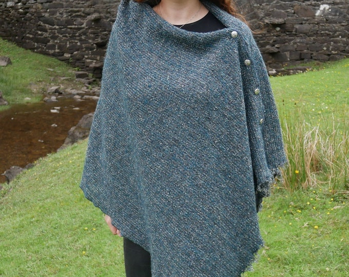 Irish wool versatile cape/poncho/buttoned shawl-lightweight-loose woven fabric-blue/grey -100% wool-ready for shipping - HANDMADE IN IRELAND