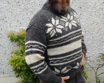 Irish hand knitted sweater-FREE SHIPPING-white&dark gray-100% raw organic wool-undyed-unprocessed - H - ready for shipping
