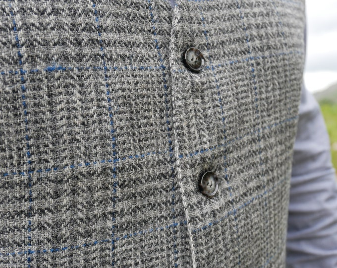 Irish tweed waistcoat - Peaky Blinders vest - grey tartan/plaid with blue tread - 100% wool - lined - HANDMADE IN IRELAND