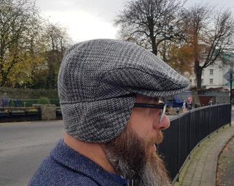 Traditional Irish tweed flat cap - grey/blue tartan , plaid check - 100% wool -padded - with foldable ear flaps -HANDMADE IN IRELAND