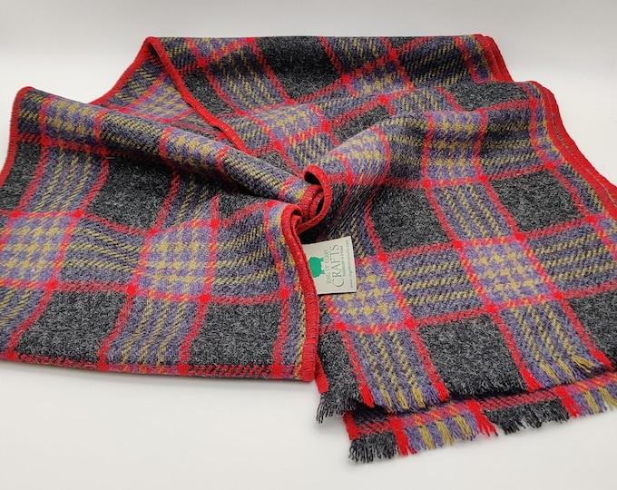 Irish tweed scarf - 100% pure new wool - charcoal/red/yellow/purple tartan, plaid check - HANDMADE IN IRELAND