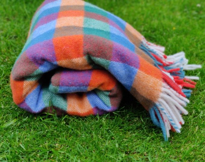Irish thick and heavy wool blanket, throw - multicolur block check - 100% pure new Irish wool - MADE IN IRELAND
