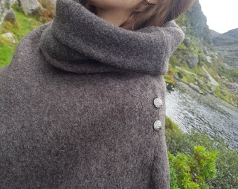 Irish felted wool turtleneck poncho - 100% pure new wool - very warm - brown/grey - ready for shipping - HANDMADE IN IRELAND