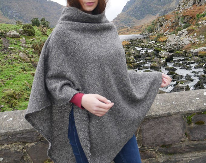 Irish felt wool poncho/cape with turtleneck - 100% wool - grey - very warm - ready for shipping - Handmade in Ireland - FREE SHIPPING