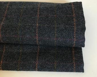 Irish tweed 100% wool fabric-FREE WORLDWIDE SHIPPING-navy herringbone/overcheck-15ozs,450gms-price per metre-ready 4shipping-Made in Ireland