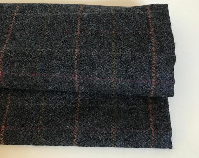 Irish tweed 100% wool fabric-FREE WORLDWIDE SHIPPING-navy herringbone/overcheck-15ozs,450gms-price per metre-ready 4shipping-Made in Ireland