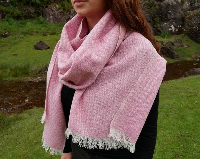 Irish tweed shawl,oversized scarf,stole-pink & white chevron- 100% wool -hand fringed -woven wool -  HANDMADE IN IRELAND