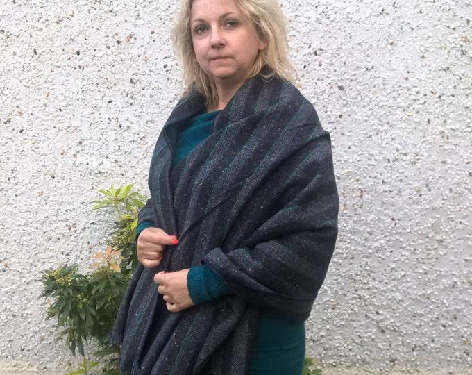 Irish tweed wool shawl ,oversized scarf, winter scarf, wrap, plaid - 100% wool - woven wool - HANDMADE IN IRELAND