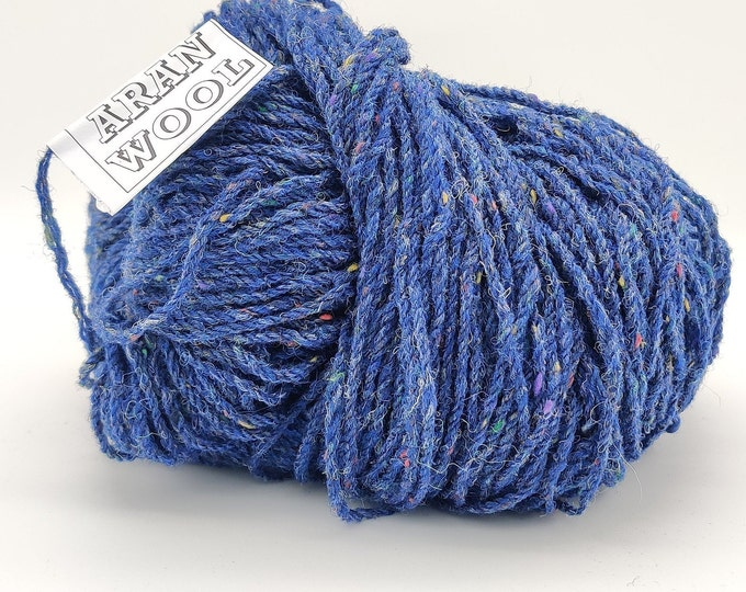 Authentic Aran Knitting Wool - blue fleck - 200g/365yards - 100% pure new wool - MADE IN IRELAND