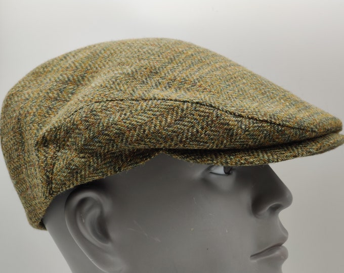 Traditional Irish tweed flat cap - green tartan - plaid - check - 100% wool -padded - HANDMADE IN IRELAND