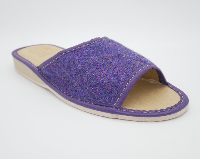 Womens Irish tweed & leather slippers - open toes - purple herringbone - house shoes - HANDMADE IN IRELAND