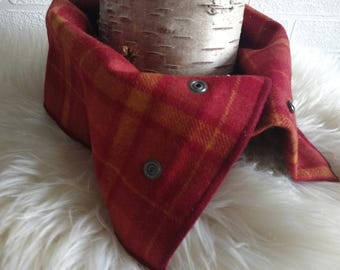 Irish tweed neck warmer-neck gaiter-snood-FREE WORLDWIDE SHIPPING-100% wool-red&yellow tartan check -ready for shipping -Handmade in Ireland