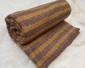 "Pure new wool Queen size bed throw/blanket -chunky&heavy yellow/brown/grey with multicolour stripes - 80""X100"" - 100% wool - MADE IN IRELAND"