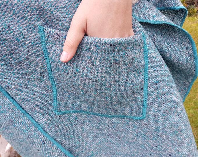 Irish tweed wool ruana, wrap, arisaid - turquoise/grey - with  pockets  - HANDMADE IN IRELAND