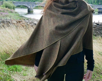 Irish tweed wool ruana,wrap,cape,coat,arisaid -bronze/brown herringbone with over check - 100% wool -ready for shipping- HANDMADE IN IRELAND