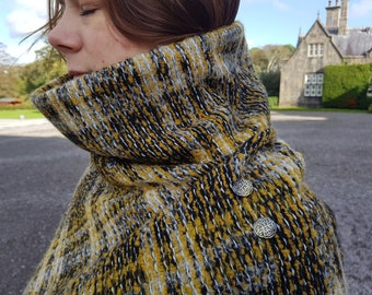 Irish woven wool turtleneck poncho - 100% pure new wool - yellow/black/white tartan, plaid check -  HANDMADE IN IRELAND
