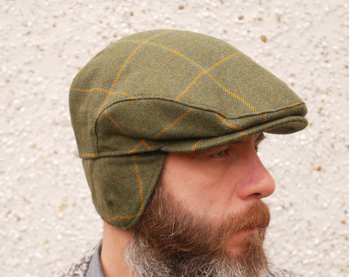 Traditional Irish tweed flat cap with foldable ear flaps - green with yellow check - 100% wool - padded - HANDMADE IN IRELAND