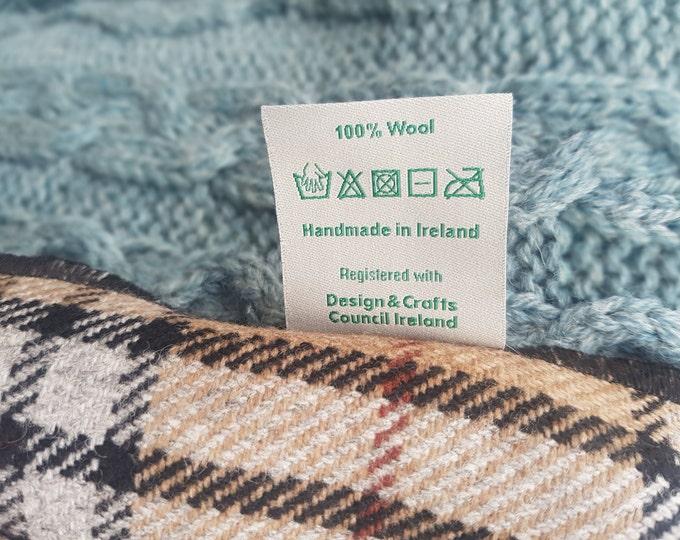 Irish soft lamswool wool scarf - 100% pure new wool - camel/white/black tartan, plaid check - unisex - hand fringed - HANDMADE IN IRELAND