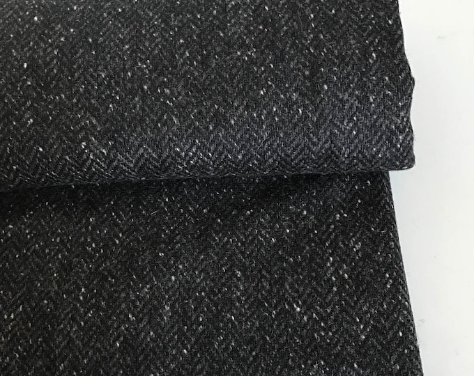 Irish tweed wool fabric-FREE WORLDWIDE SHIPPING-black&grey herringbone-100%wool-15ozs,450gms-price per metre-ready 4shipping-Made in Ireland