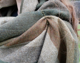 Irish tweed shawl,oversized scarf,stole - green/brown/beige stripes - 100% wool - hand fringed - woven wool - HANDMADE IN IRELAND
