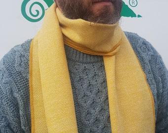 Irish tweed wool scarf - 100% pure new wool - yellow/white chevron - hand fringed - HANDMADE IN IRELAND