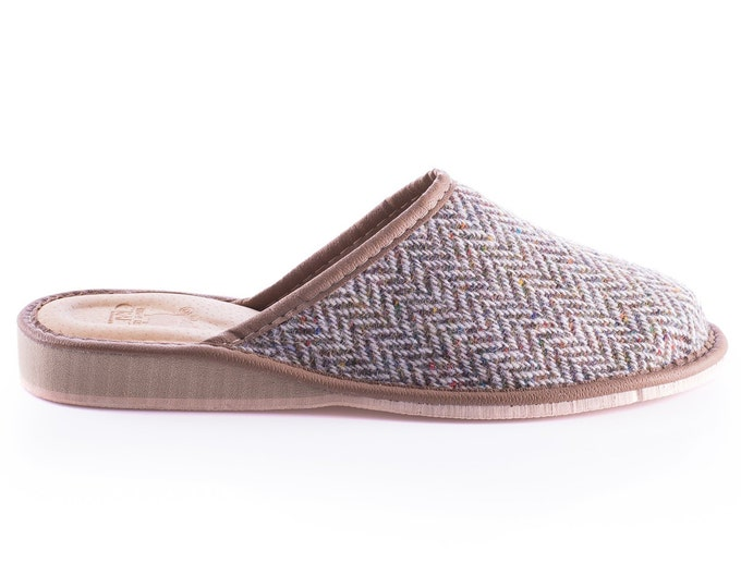Womens Irish tweed & leather slippers - speckled pale/grey herringbone - HANDMADE IN IRELAND