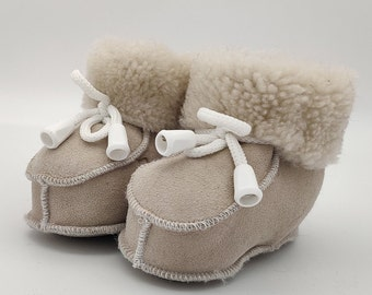 Baby booties - 100% real sheepskin - cute and adorable - unisex - HANDMADE IN IRELAND