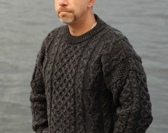 Traditional Aran Sweater - 100% pure new wool - charcoal - chunky&heavy - MADE IN IRELAND - ready for shipping