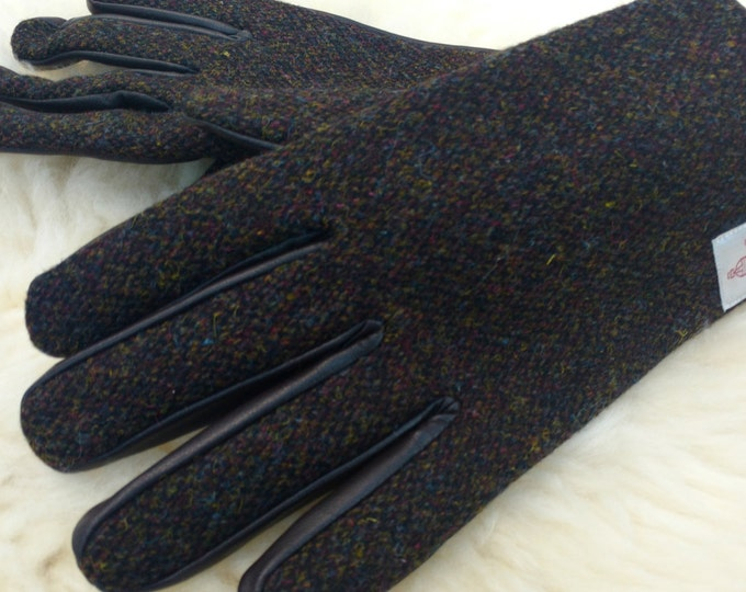 Mens Harris Tweed & genuine leather gloves- FREE SHIPPING- brown/green melange Harris Tweed-soft brown leather-warm lining - Made In Ireland