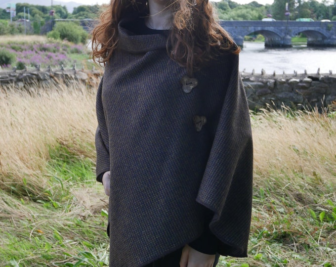 Versatile 3in1 - Irish tweed poncho, cape & shawl - brown / bronze  small check - ready for shipping - HANDMADE IN IRELAND