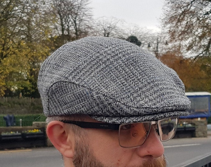 Traditional Irish tweed flat cap - grey/blue tartan , plaid check - Prince of Wales tartan - 100% wool -padded -  HANDMADE IN IRELAND
