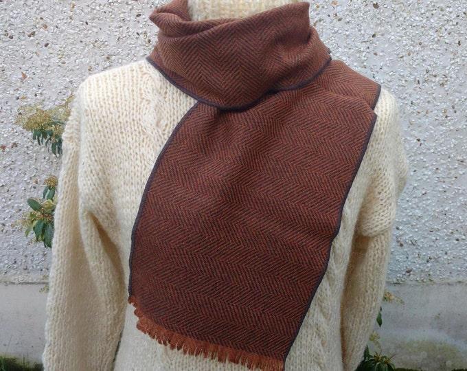 Irish tweed wool scarf-FREE WORLDWIDE SHIPPING-100% wool - orange & charcoal herringbone - ready for shipping - unisex - Handmade in Ireland