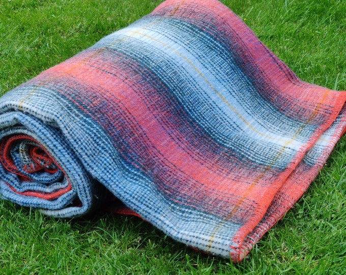 "Queen size thick wool blanket, throw - shadow check - 100% pure new wool - 90"" X 100"" - MADE IN IRELAND"