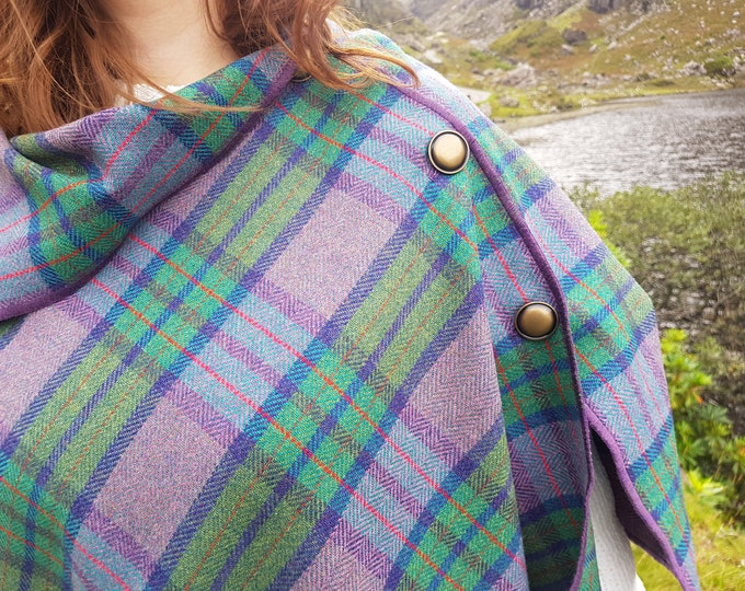 Irish soft lambswool poncho,cape,shawl in 1 piece! purple/lavender/green check tartan & herringbone -100% pure new wool -HANDMADE IN IRELAND