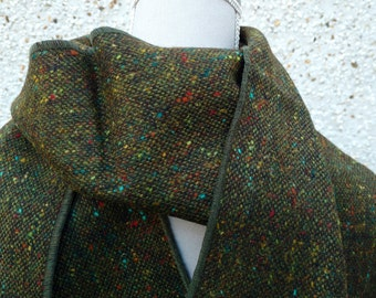 Irish tweed scarf-FREE WORLDWIDE SHIPPING-100% wool - forest green melange  - ready for shipping - Handmade in Ireland
