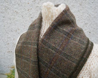 Irish tweed wool scarf -100% wool- moss green tartan - FREE SHIPPING - hand fringed -ready for shipping - unisex - Handmade in Ireland