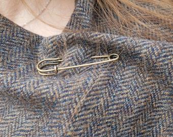 Irish tweed wool ruana, wrap , arisaid - brown/blue/beige herringbone - 100% wool - ready for shipping -free shipping - HANDMADE IN IRELAND