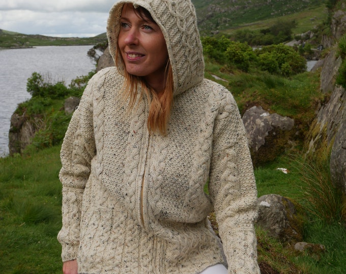 Hooded Aran Zipper cardigan - cream with fleck - 100% pure new wool - MADE IN IRELAND
