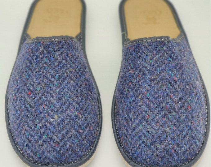 Gents Irish Donegal Tweed Slippers - speckled navy herringbone - ready for shipping - MADE IN IRELAND