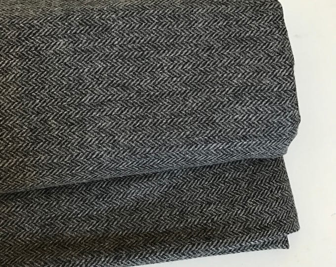 Irish tweed wool fabric-FREE WORLDWIDE SHIPPING-charcoal&grey herringbone-100%wool-12/13ozs,390gms-per metre-ready 4shipping-Made in Ireland