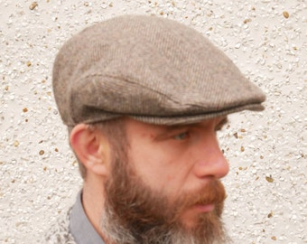 99115182 Traditional Irish tweed flat cap - newsboy cap - brown/beige herringbone -  100% wool -padded - ready for shipping - HANDMADE IN IRELAND