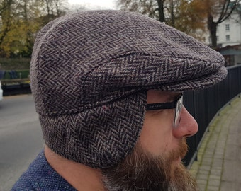 Traditional Irish tweed flat cap - brown herringbone - 100% wool -padded with foldable ear flaps- ready for shipping -HANDMADE IN IRELAND