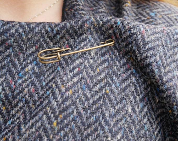 Irish Donegal tweed wool ruana,wrap,cape,coat,arisaid - speckled navy/blue herringbone - 100% Pure New Wool - HANDMADE IN IRELAND