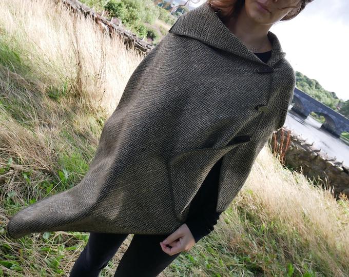 Versatile 3in1 - Irish tweed poncho, cape & shawl - speckled military green / beige herringbone - ready for shipping - HANDMADE IN IRELAND
