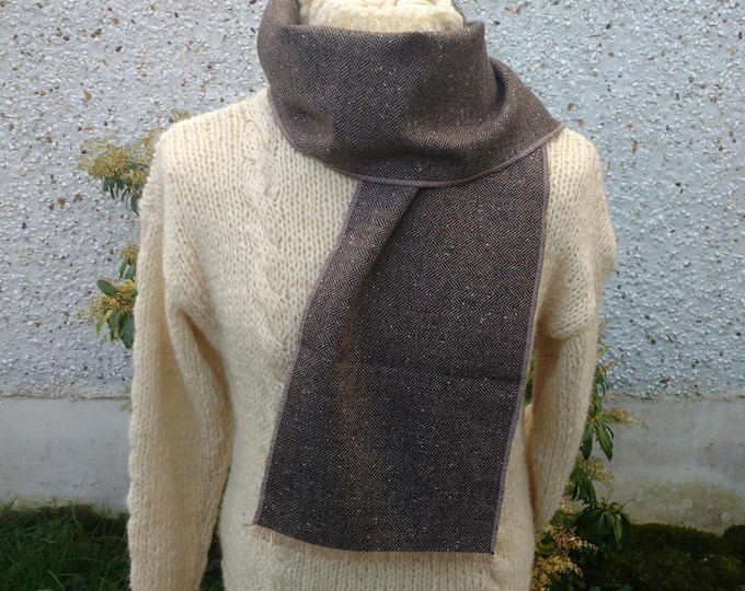 Irish tweed scarf - 100% pure new wool - brown & beige herringbone with fleck - ready for shipping - unisex - Handmade in Ireland