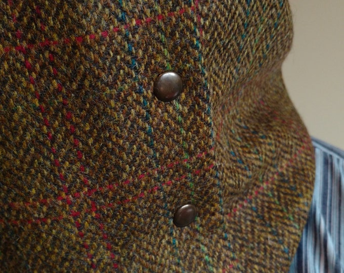 Irish tweed neck warmer-neck gaiter-snood-FREE WORLDWIDE SHIPPING-100% wool - brown/green herringbone-ready for shipping-Handmade in Ireland