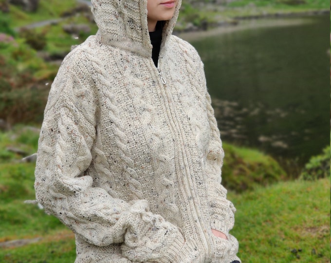 Irish Aran Long Cardigan-hooded with pockets/two-way zipper/cream with fleck - 100% pure new wool - really warm and chunky - MADE IN IRELAND